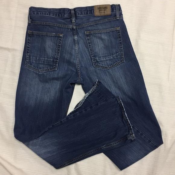 MOSSIMO SUPPLY~Dark Wash DENIM STRETCH BLUE JEANS~Straight Fit~Men/'s 28x30~NWT